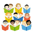 Group of children reading vector image vector image