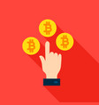 hand bitcoin flat icon vector image
