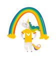 happy unicorn character standing under big rainbow vector image vector image
