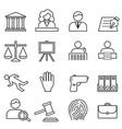 justice law legal icon set vector image vector image