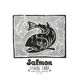 linocut with a picture salmon vector image