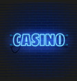 neon lamp casino banner on wall background las vector image vector image