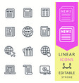 news - line icon set editable stroke vector image