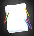 paper and color pencils vector image vector image