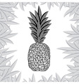 pineapple fruit black and white design vector image