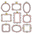 princess frames pink cute floral mirror frames vector image