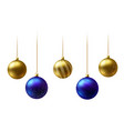 realistic gold and blue christmas balls hanging on vector image vector image