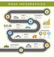 road infographic timeline with point map business vector image