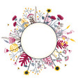 round flower doodles wreath hand drawn isolated vector image vector image