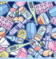 seamless pattern with medicines and medical vector image vector image