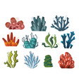 set cartoon underwater plants and creatures vector image vector image