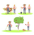 set of farmers family vector image