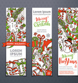 set of hand-drawn Christmas banners vector image vector image