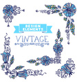 Set of vintage corner designs with floral elements vector image vector image