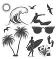 set surfing design elements vector image