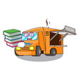 student with book character food truck with awning vector image
