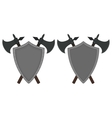 Two crossed axes and steel shield heraldry emblem vector image vector image