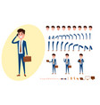 young businessman character creation set vector image vector image