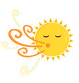 a funny blowing sun vector image
