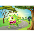 A monster jogging at the road vector image vector image