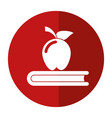 apple book school symbol shadow vector image
