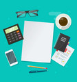 audit or research work desk with blank empty paper vector image vector image
