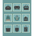 blue trendy women hand bags and purse icons set vector image vector image