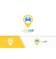 car and map pointer logo combination vector image