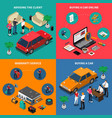 car dealership isometric concept vector image vector image