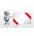 Cartoon Robot with gift card vector image