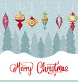 christmas card with balls and wishes christmas vector image vector image