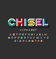 colorful chisel font design alphabet letters and vector image vector image