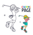 coloring page with woman golf player cartoon vector image vector image