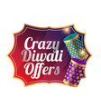 crazy diwali sale template design with cracker vector image vector image