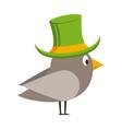 cute bird cartoon and elf hat vector image