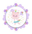 cute happy cat banner design cartoon kitten vector image