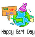 earth day cartoon style design vector image vector image