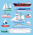 flat sea ships marine shipping sailing boat vector image