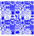 food kitchen tiles blue pattern background design vector image vector image