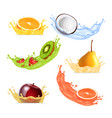 fruits in splashing juice vector image vector image