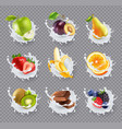 fruits milk splashes realistic set vector image vector image