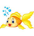 gold fish with bubbles isolated on transparent bac vector image vector image