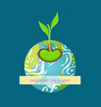 greening planet earth banner with growing plant vector image