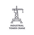 industrial tower crane line icon sign vector image