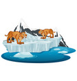 isolated picture two sabertooth on ice vector image vector image