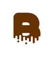 letter b chocolate font sweetness alphabet liquid vector image