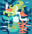 mermaid with fish friends matisse inspired vector image