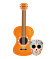 mexican skull death mask with guitar vector image vector image