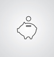 moneybox piggy outline symbol dark on white vector image