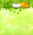 Nature Background with Shamrocks and Irish Flag vector image vector image